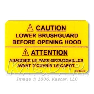 Brush Guard Caution Decal